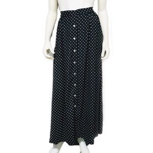 Vintage   Polka Dot Silk Button Front Maxi Skirt